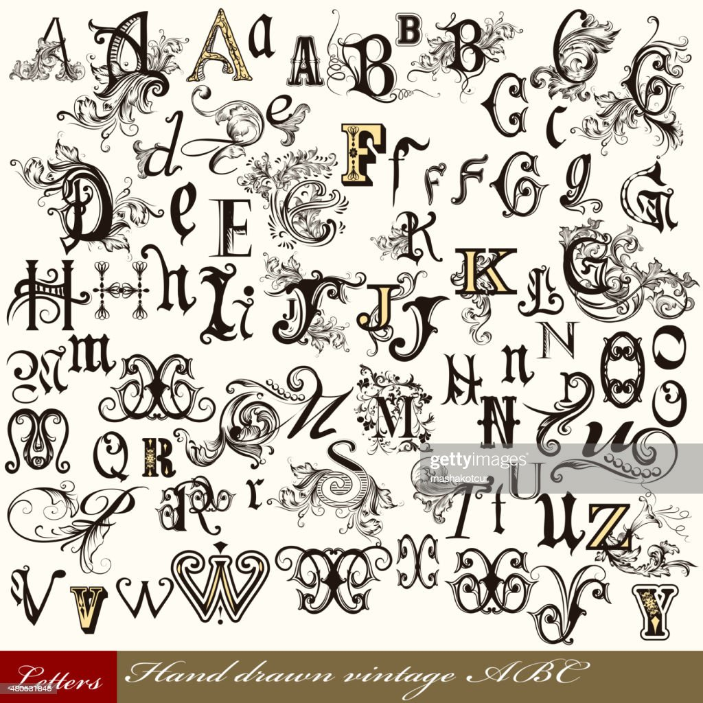 Collection of vector English ABC in vintage style with swirls : Vector Art