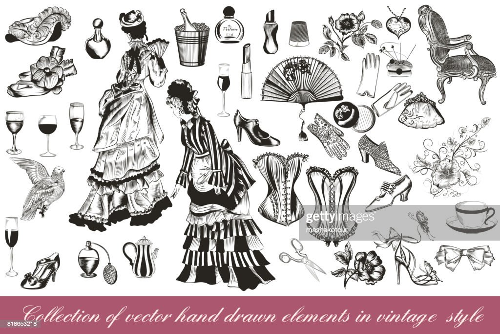 Collection of vector fashion lady set accessories clothiers and cosmetic