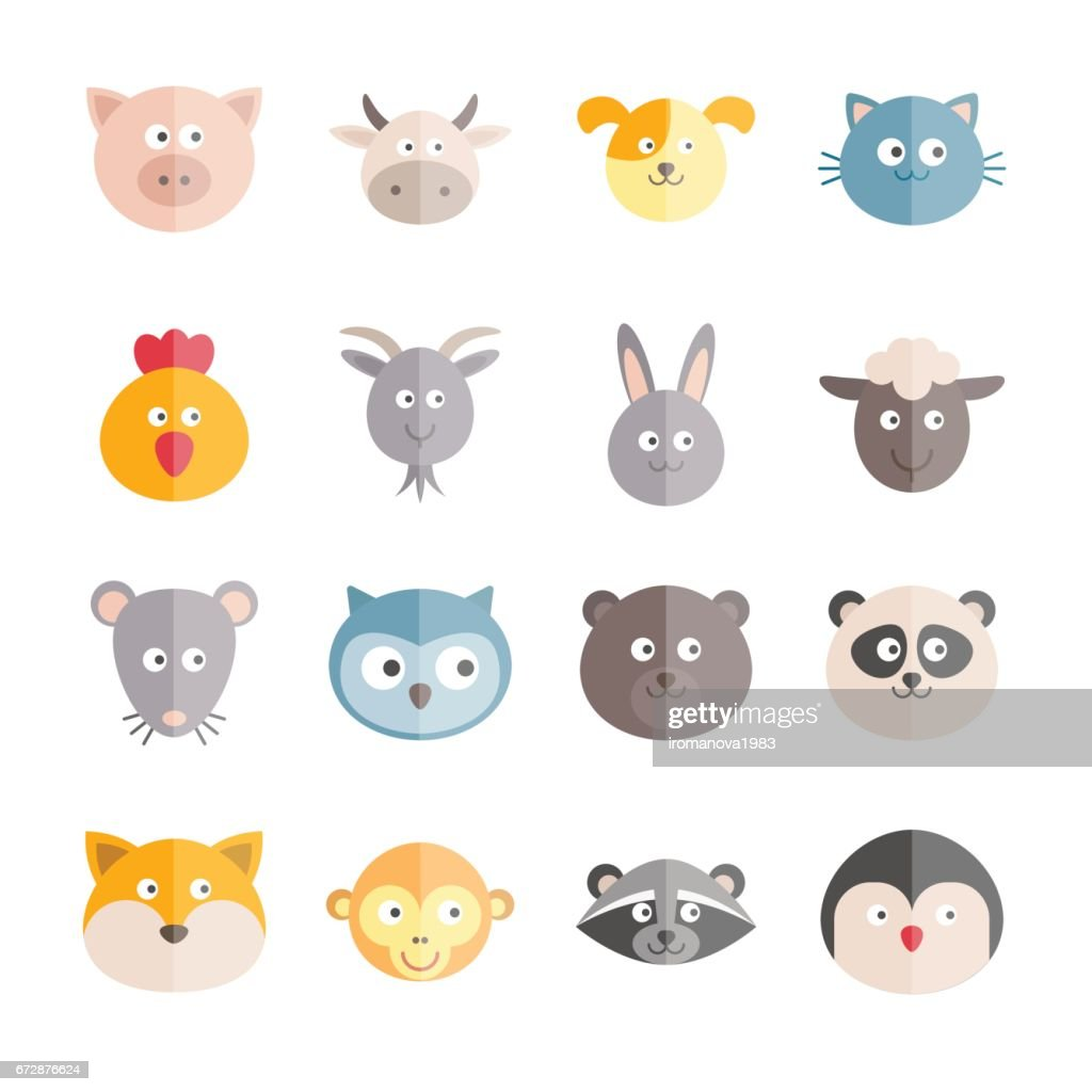 Collection of vector flat animals icons for web, print, mobile apps design