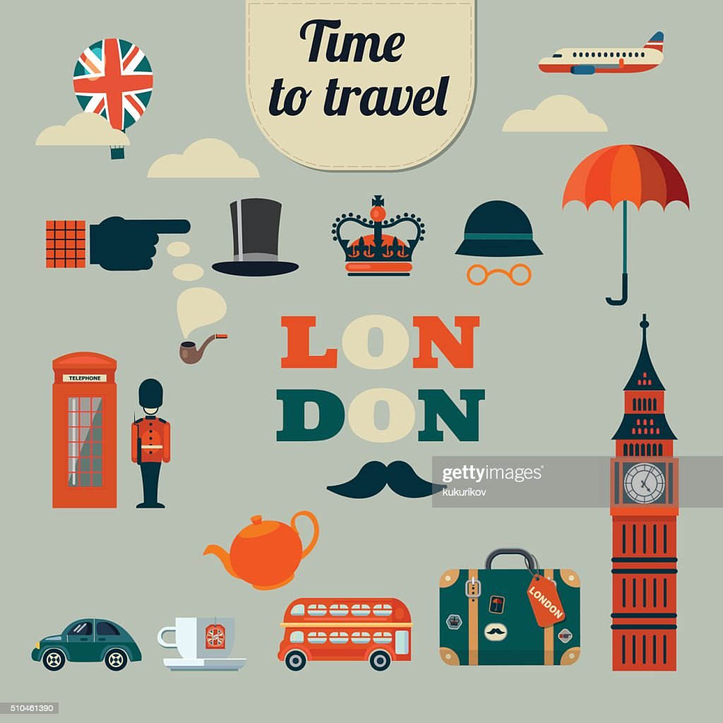 collection of vector flat style London icons