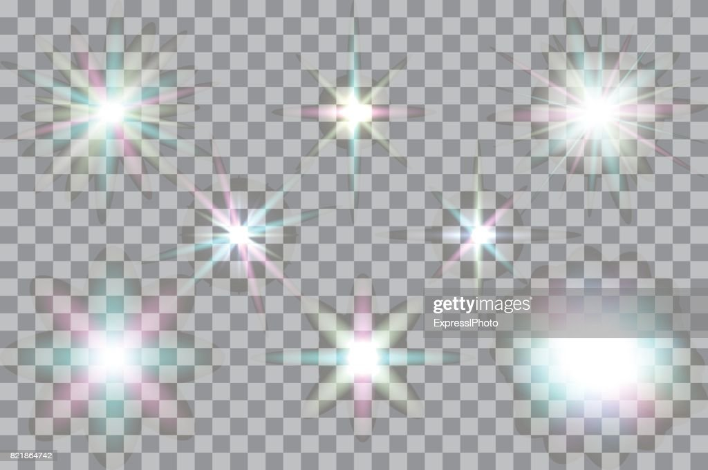 Collection of vector glowing light effects isolated on transparent background.