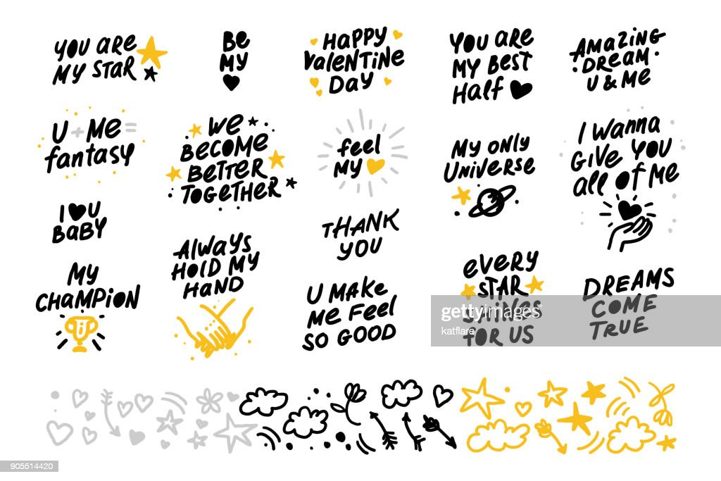 Collection of vector hand made lettering love quotes and decor elements isolated on white background.