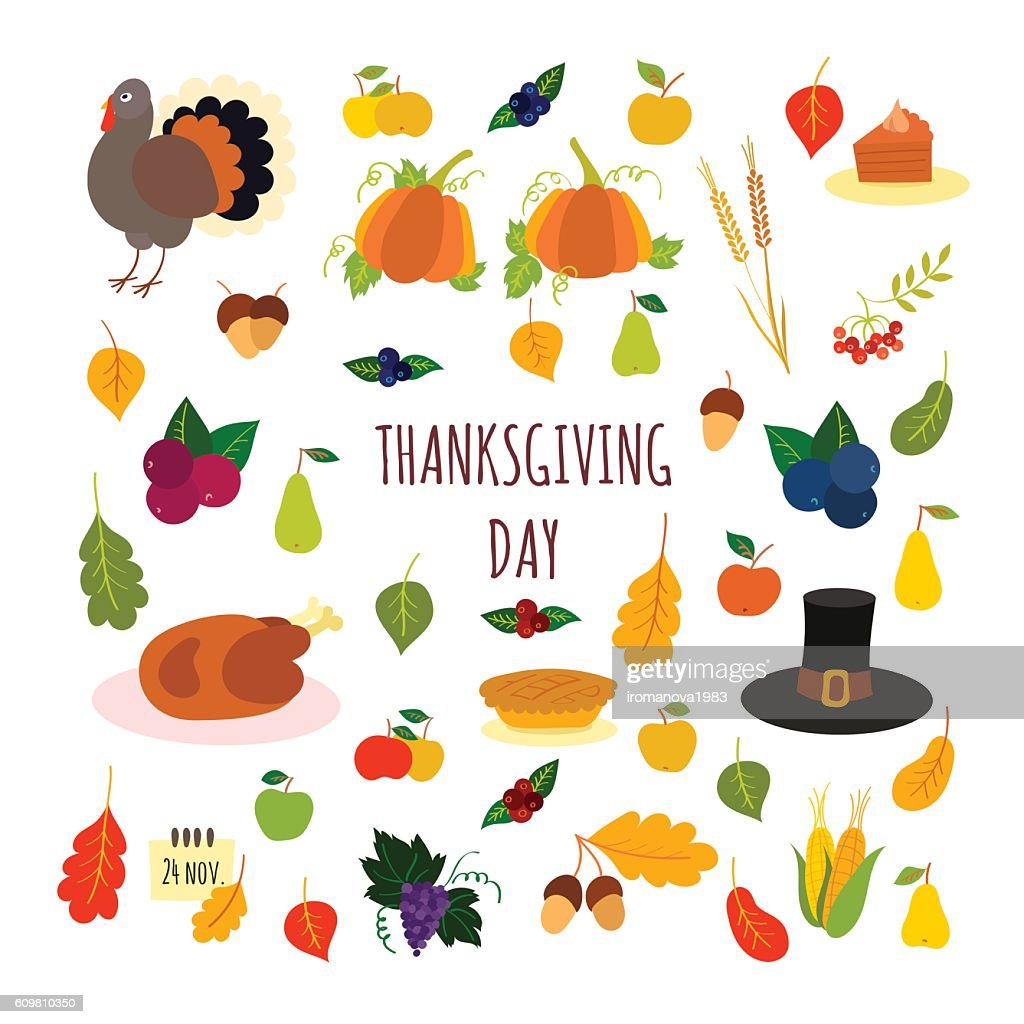 Collection of vector Happy Thanksgiving elements for design
