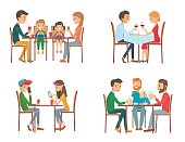 Collection of vector illustration on the theme of people in cafe