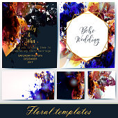 Collection of vector invitation templates with floral and spot elements