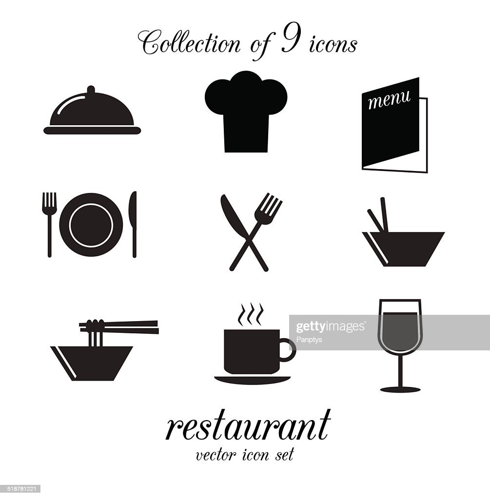Collection of vector restaurant icons.