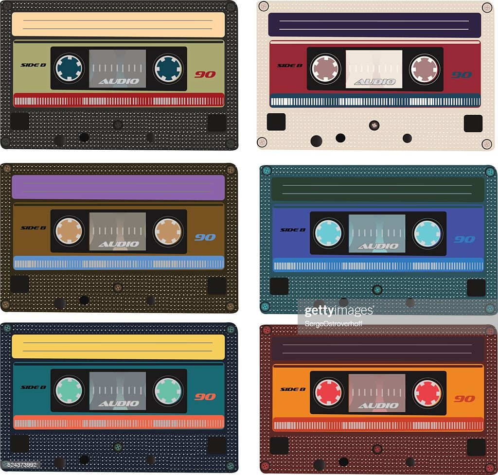 Collection of vector retro audio cassettes.
