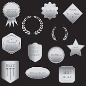 Collection of vector silver metallic badges and seals. Set of labels in a silver. Luxury design element for sales, promotion products and original goods.