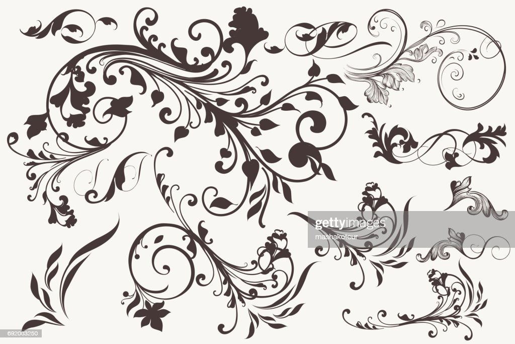 Collection of vector vintage flourishes for design