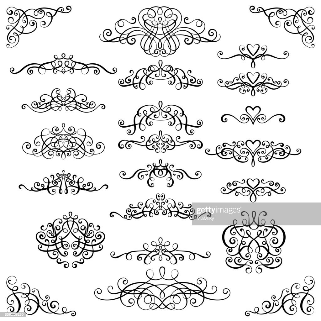 Collection of vintage calligraphic flourishes, curls and swirls decoration for greeting cards,books or dividers.