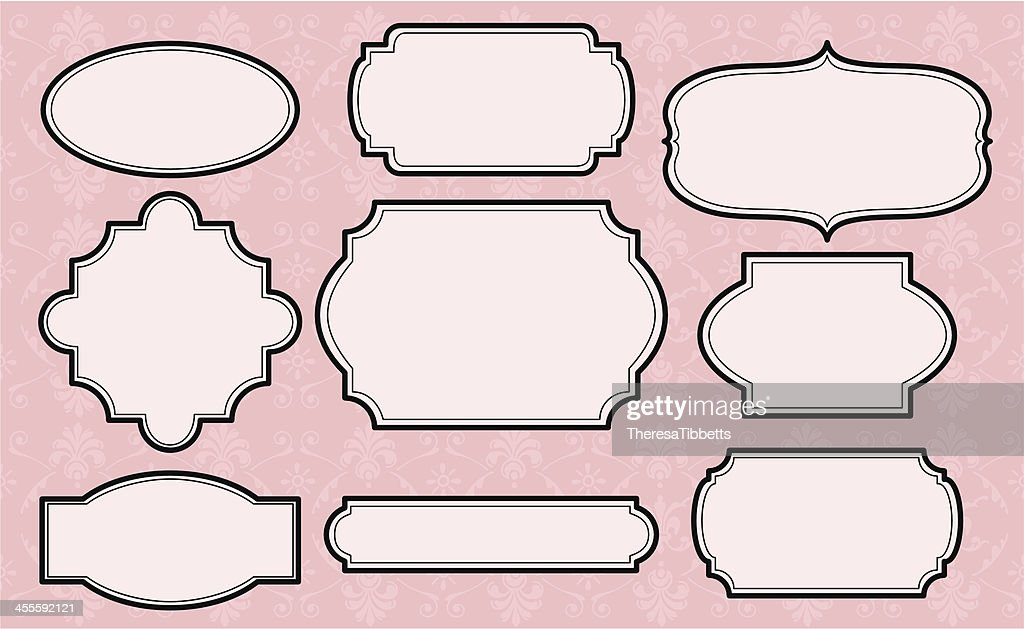 collection of vintage decorative labels on pink background vector