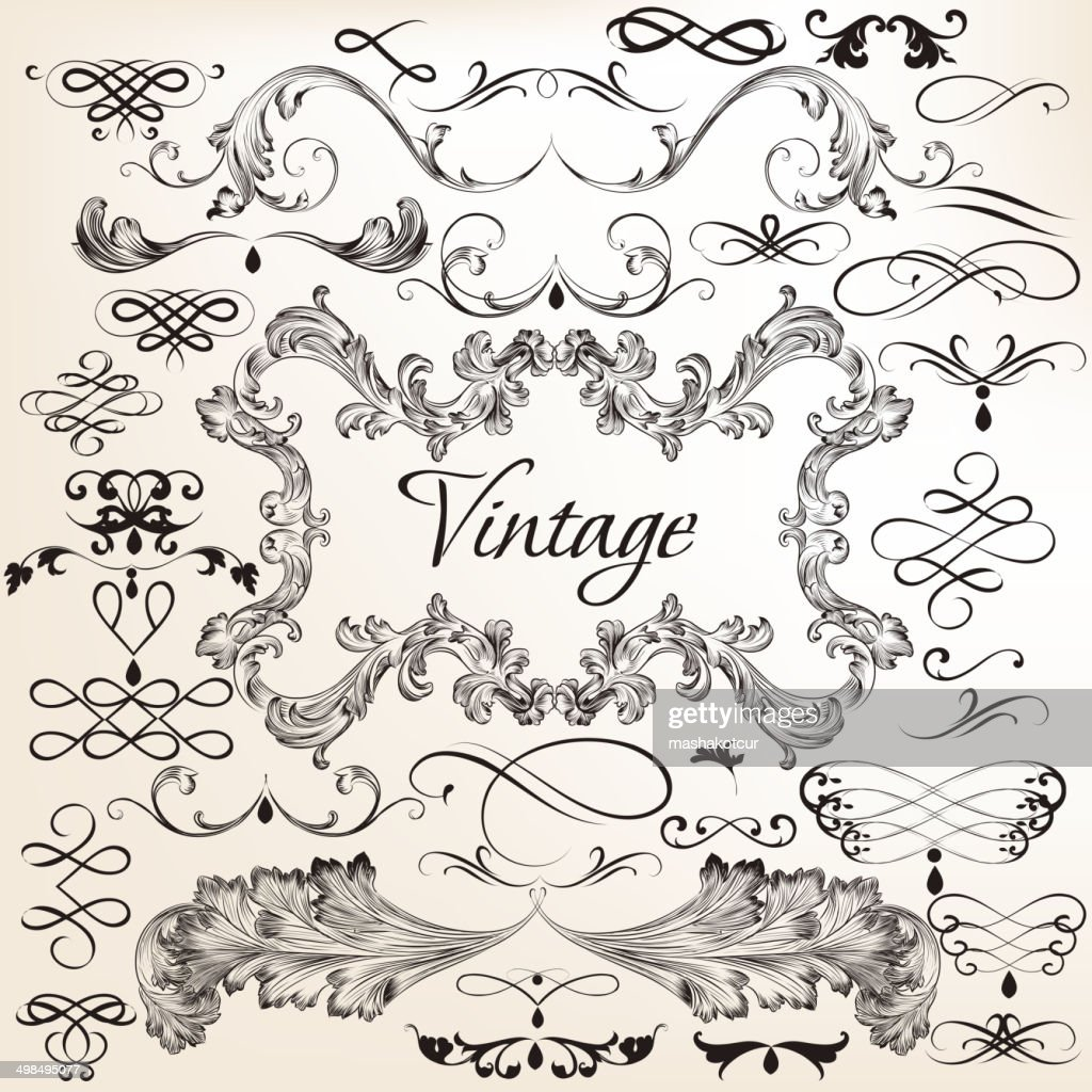 Collection of vintage vector decorative elements