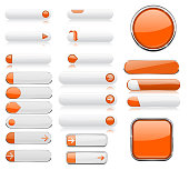 Collection of web buttons. White and orange 3d shiny icons