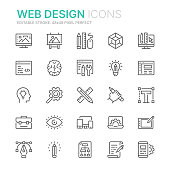 Collection of web design and development related line icons. 48x48 Pixel Perfect. Editable stroke