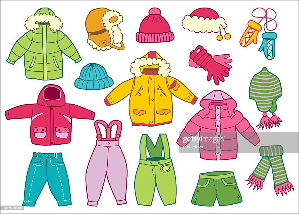 Collection of winter children's clothing in white background
