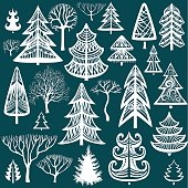 Collection of winter trees