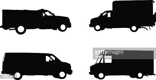 Collection of work trucks and service vehicles