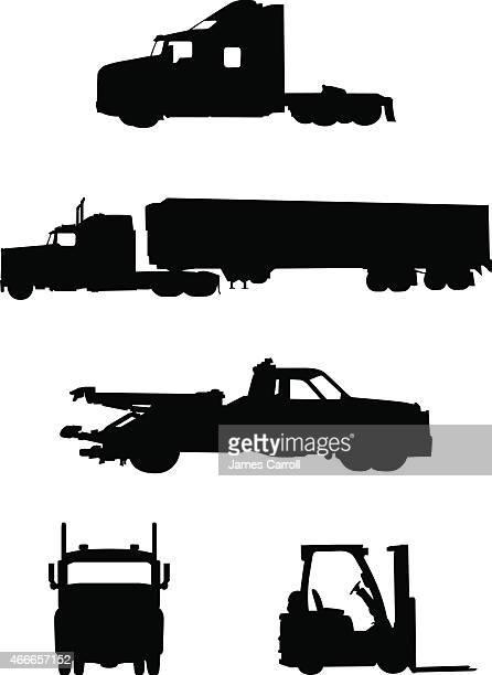 illustrations, cliparts, dessins animés et icônes de collection de travail camions et véhicules - chauffeur routier