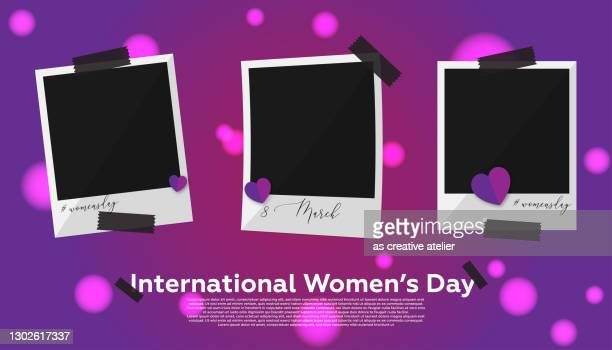 collection photo frame - women's day concept. purple background and heart shapes. - international womens day stock illustrations