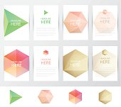 Collection set of letterhead template mockups with soft crystal facets