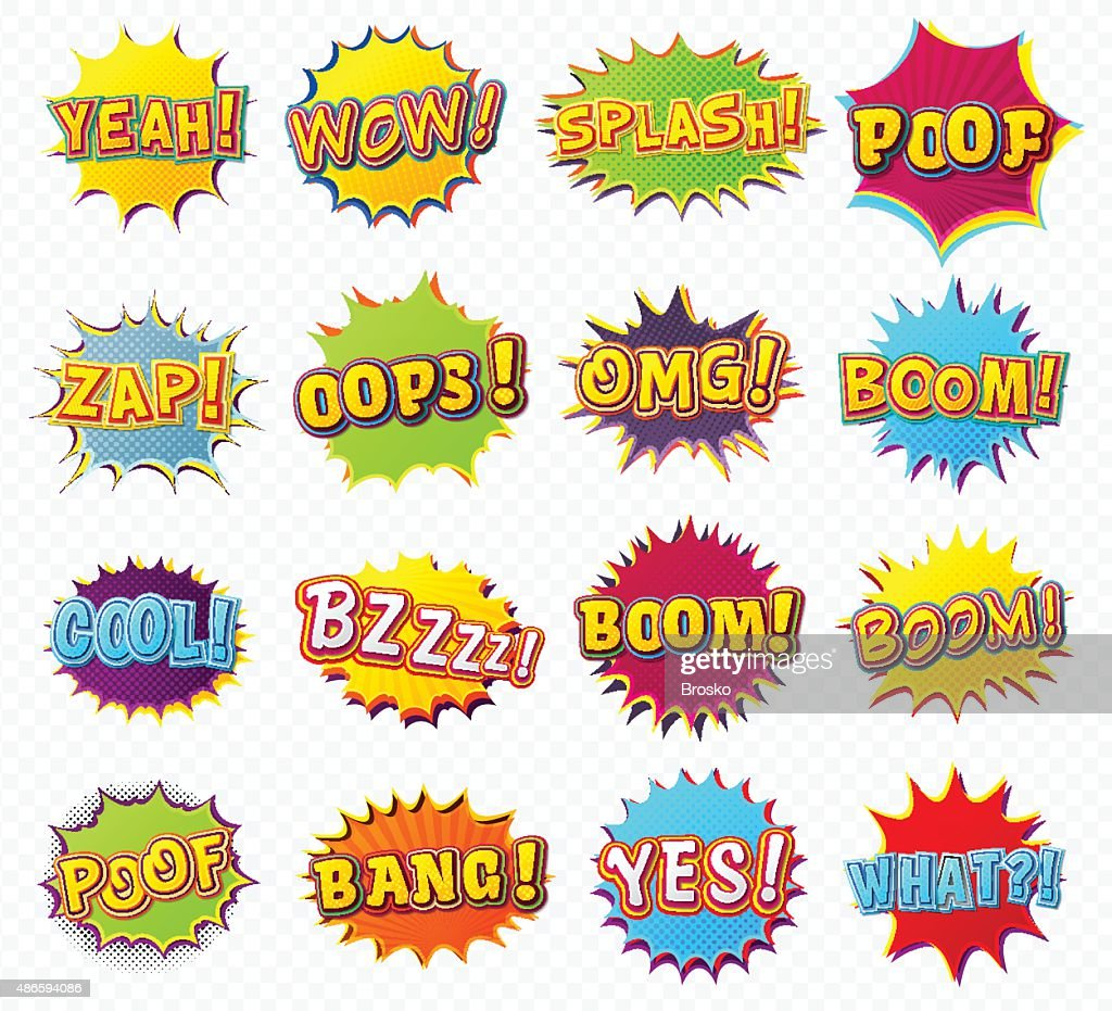 Collection speech bubbles and explosions in pop art style
