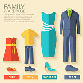 collection style fashion clothing for family icon set background concept