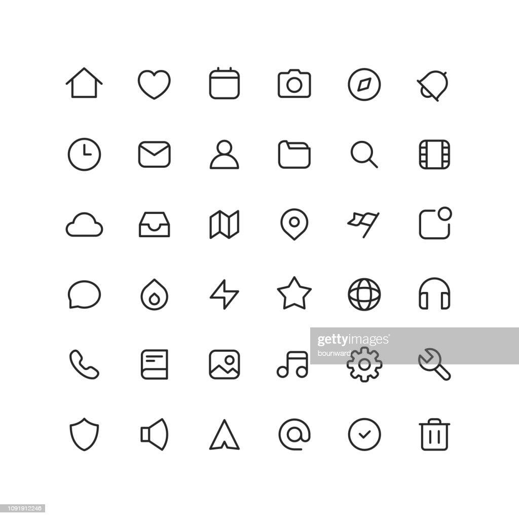 Collectie User Interface overzicht pictogrammen : Stockillustraties