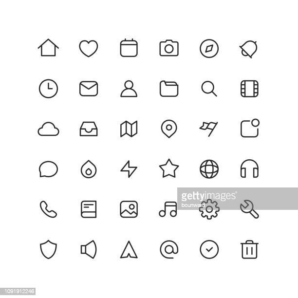collection user interface outline icons - navigational equipment stock illustrations