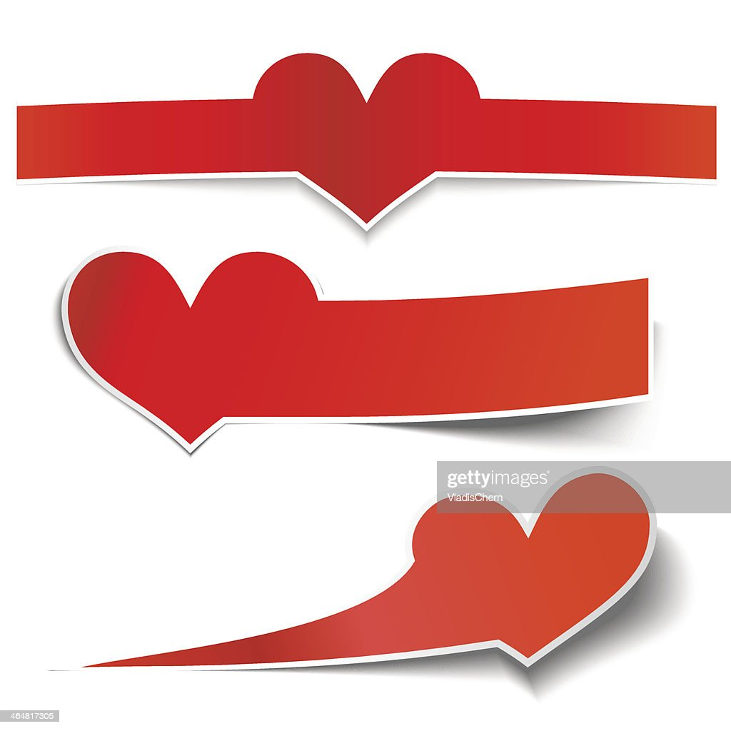 collection vector heart sticky notes, transparent shadows
