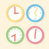 Collection wall clock patterns. Icons clock in flat vector style.