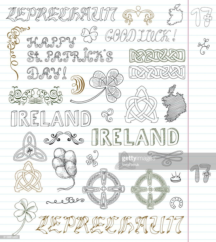 Collection with celtic patterns and lettering