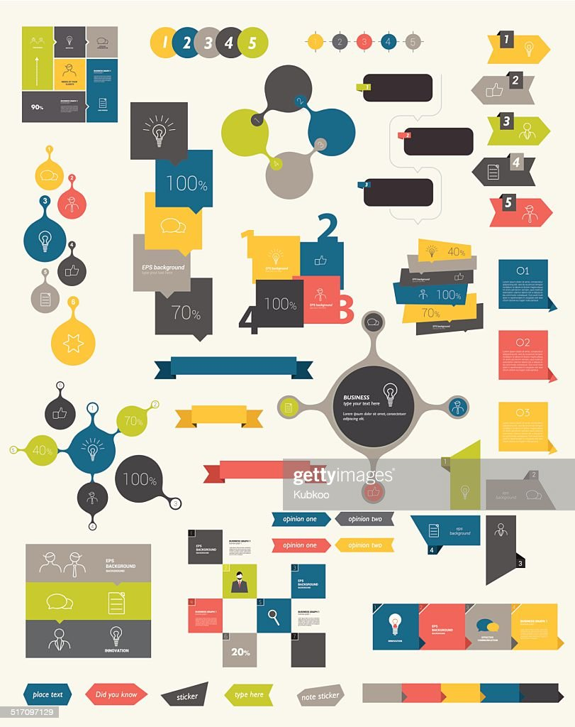 Collections of info graphics flat design diagrams.