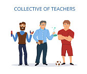 Collective of teachers. Flat style.