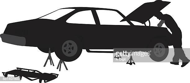 collector car mechanic - vehicle hood stock illustrations, clip art, cartoons, & icons