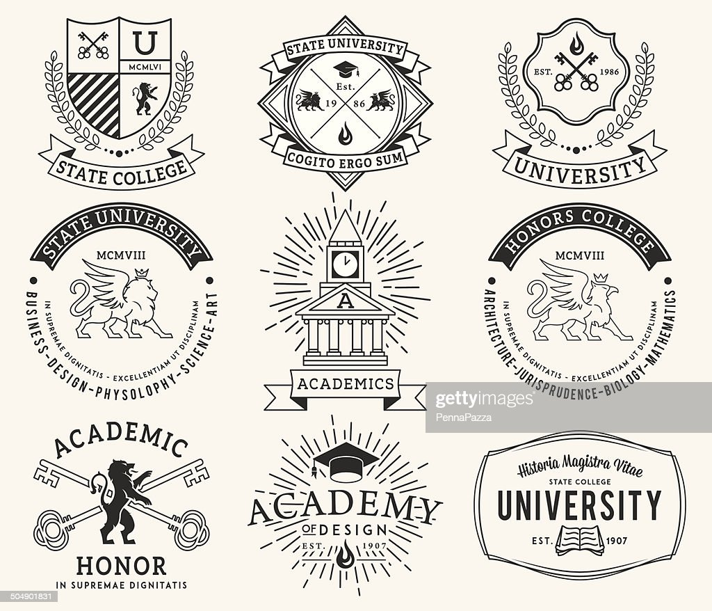College and University badges 2 Black on White