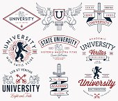 College and University badges colored