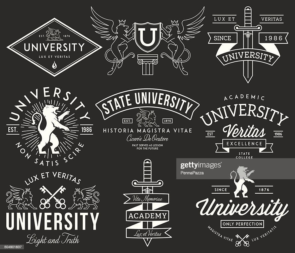 College and University badges White on Black