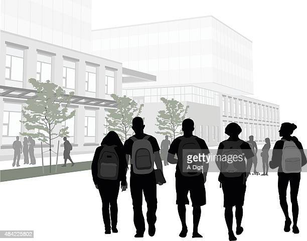 college campus friends - high school stock illustrations, clip art, cartoons, & icons