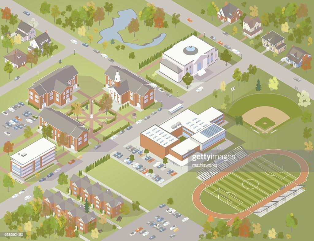 College Campus Illustration : Vector Art