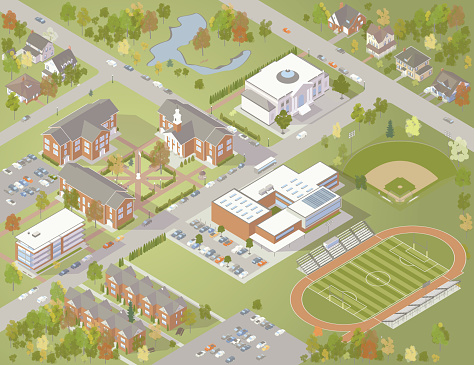 College Campus Illustration - gettyimageskorea