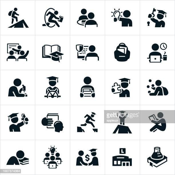 college-ausbildung-symbole - dozenten stock-grafiken, -clipart, -cartoons und -symbole