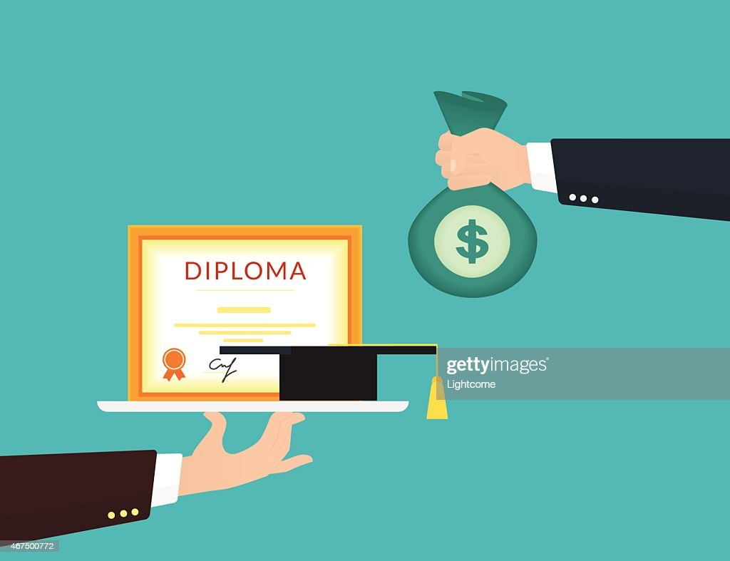 College graduate handing over money for his diploma