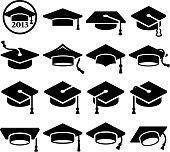 College Graduation mortar board graduation cap vector icon set