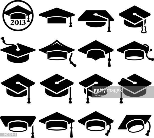 ilustraciones, imágenes clip art, dibujos animados e iconos de stock de universidad graduación mortero de vector conjunto de icono de tapa de graduación - birrete