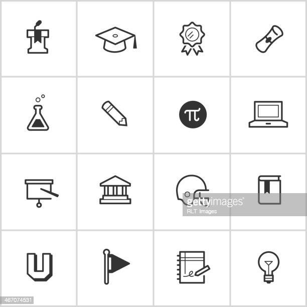 college life icons — inky series - pennon stock illustrations