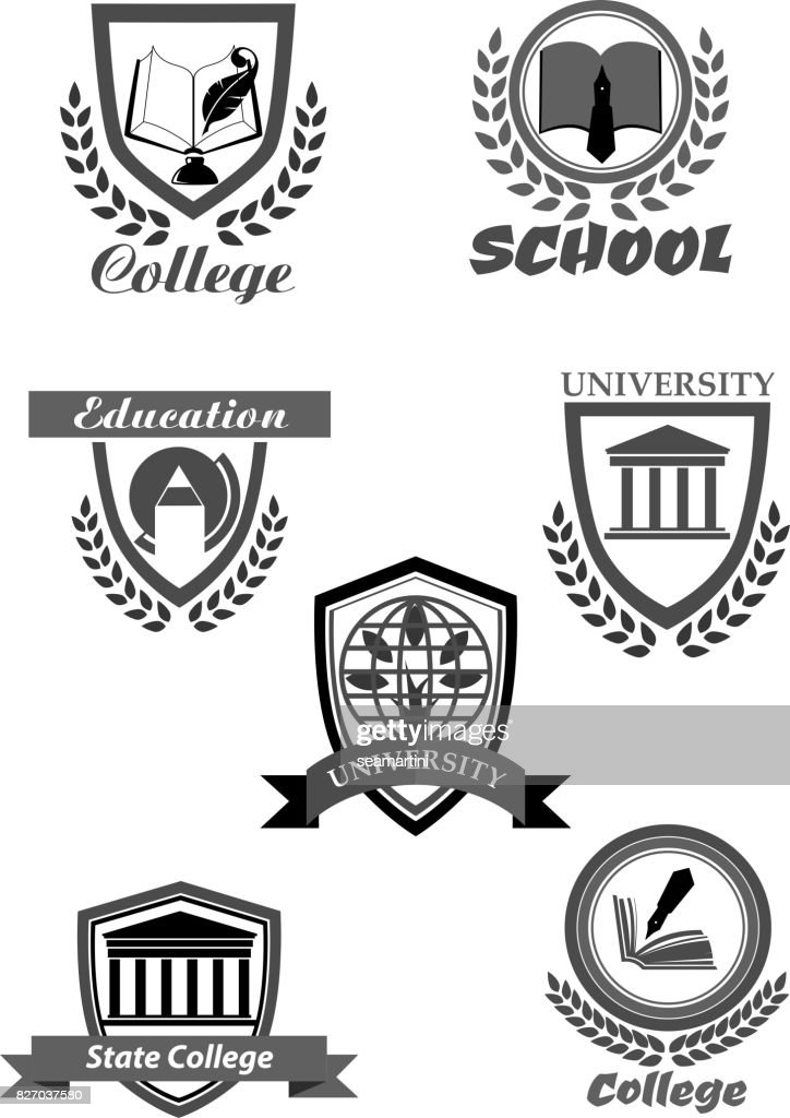 College or university and school vector icons set