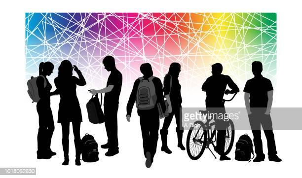 ilustraciones, imágenes clip art, dibujos animados e iconos de stock de colegio orgullo diversidad - adulto joven