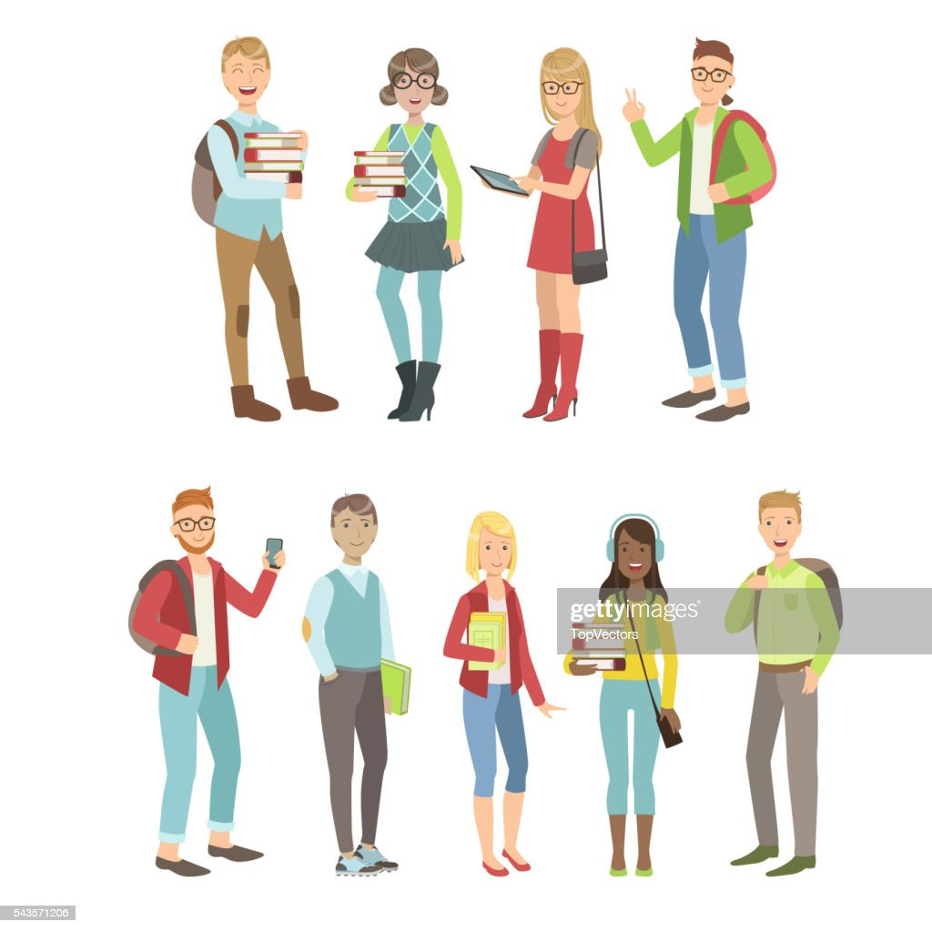 College Students Characters Set