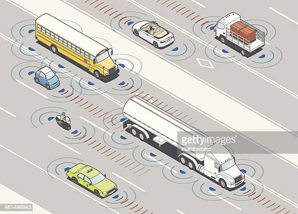 collision detection radar illustration - mathisworks vehicles stock illustrations