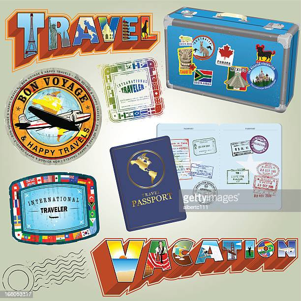colmplete travel collection - travel tag stock illustrations, clip art, cartoons, & icons